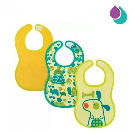 chicco-easy-meal-bib-6-months-3pcs-green